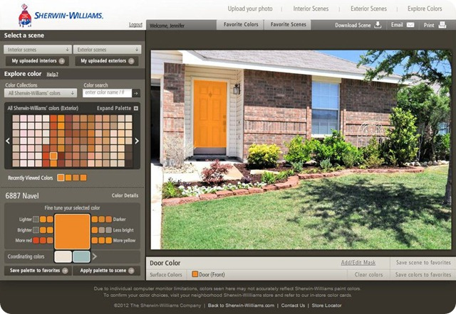 Sherwin Williams Color Visualizer Navel Orange